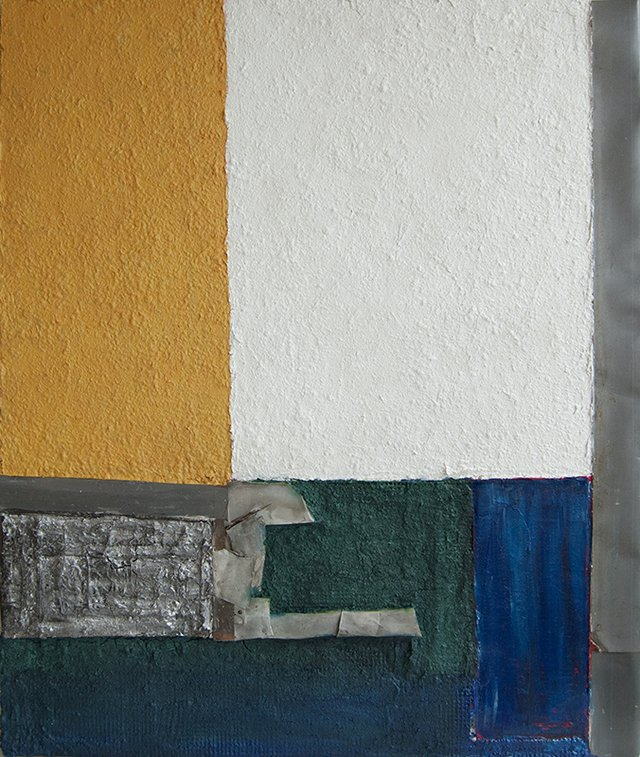 """Dick Der, """"Shades of Venice IV,"""" mixed media on panel 45 x 38""""."""
