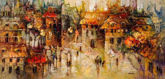 "Irena Gendelman, ""City Dreaming,"" Acrylic on Canvas, 30"" x 60""."