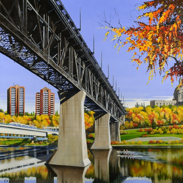 "Fraser Brinsmead, ""Two Bridges East,""  Acrylic on Canvas, 48"" x 48"""