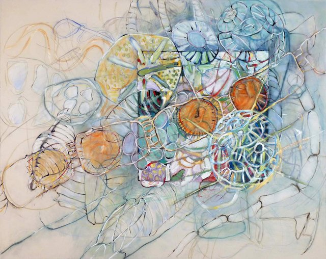 "Teresa Posyniak, ""Creature Sweep 1,""mixed media on canvas, 48 x 60 in."