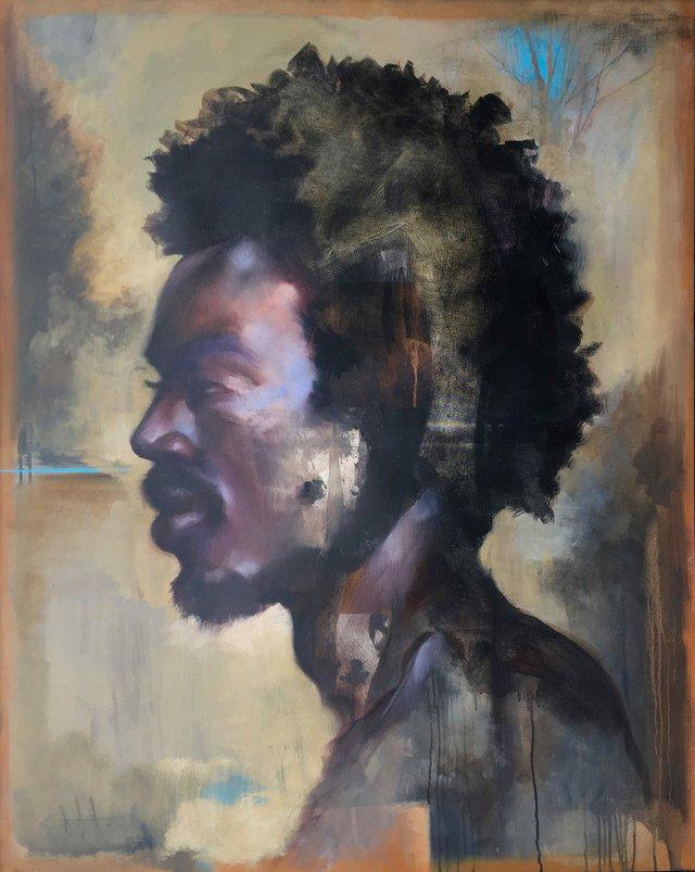 """Carl White,""""Prometheus,""""oil on canvas, 60"""" x 48"""""""