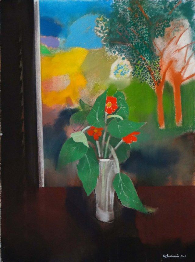"Walter Bachinski, ""Vase Of FlowersIn Spring Landscape,"" 29X22"