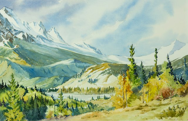 "Grant Reddick, ""Above Pocahontas, Jasper Park,"" watercolour"