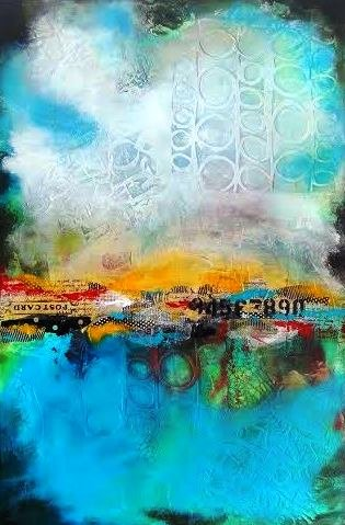 "Anne Siciliano, ""Journey,""acrylic/mixed media on canvas, 36"" x 24"""