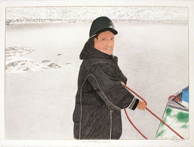 "Itee Pootoogook, ""Calm Water, This Guy is Ready for Hunting,"" 2013"