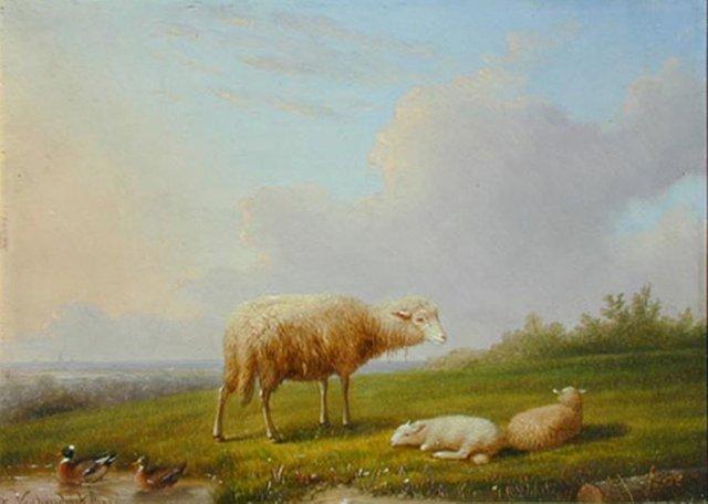 """François Van Severdonck, (Belgian 1809-1889), """"Sheep in Landscape"""""""