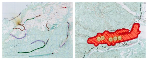 """Amy Malbeuf, """"The Mealy Mountains and Three Artists Fly North,"""" (2013)"""