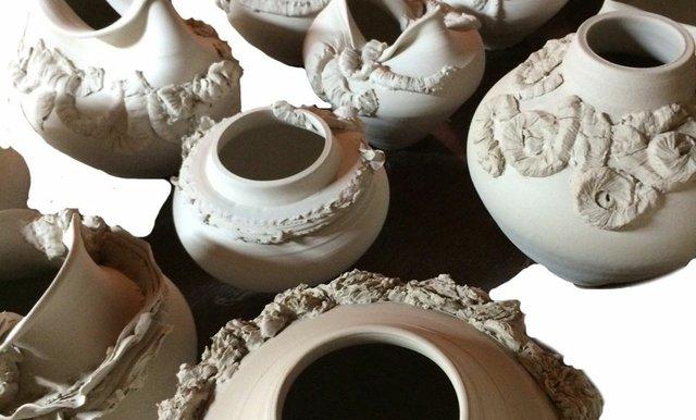 "Sandy Kunze, ""Unglazed pots"""