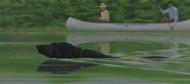 """Alexander Colville, """"Swimming Dog and Canoe,"""" 1979"""