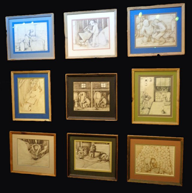 """William Kurelek, """"A group of nine drawings"""""""