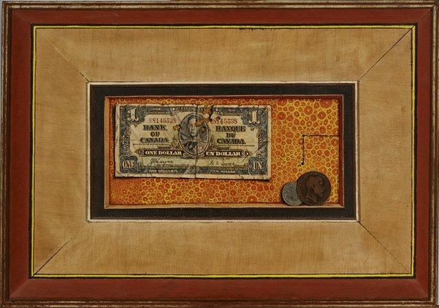 """William Kurelek, """"Trompe l""""oeil with dollar bill,"""" 1958"""
