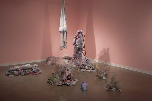 """Tricia Middleton, """"Ladder Buddies, Coffee Cup Legs, Weeds / Feu de bois, Blanket and Smaller Friend,"""" 2013-15"""