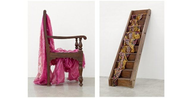 """(left) Bharti Kher, """"Absence,"""" 2011, Private collection; (right) Bharti Kher, """"The day they met,"""" 2011 ;"""