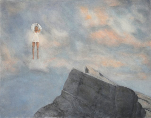 """Linda Craddock, """"Levitas: Woman with Sweater. Late Day Sun Over Mt. Rundle,"""" 2016"""