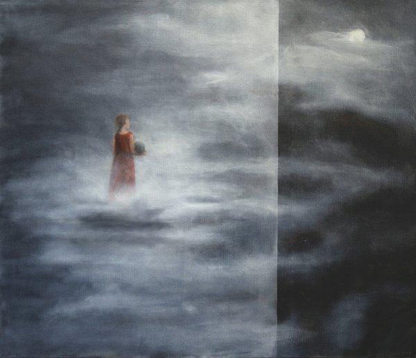 """Linda Craddock, """"Levitas: Woman with Ball Over Mystic Ridge,"""" 2016"""