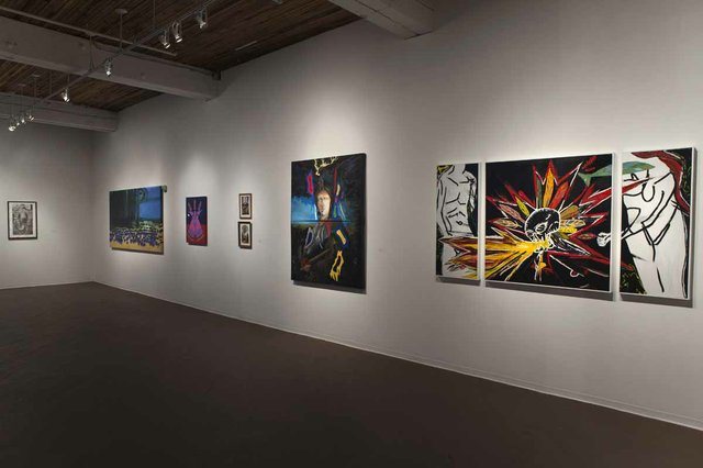 "Installation view showing Roger Crait, ""The Hunters,"" 2016, at far right"