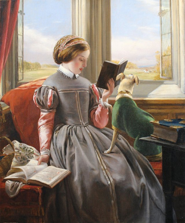 """John Callcott Horsley (British 1817-1903), """"At The Window, the Terrier Anxious to Join the Hunt in the Distance"""""""