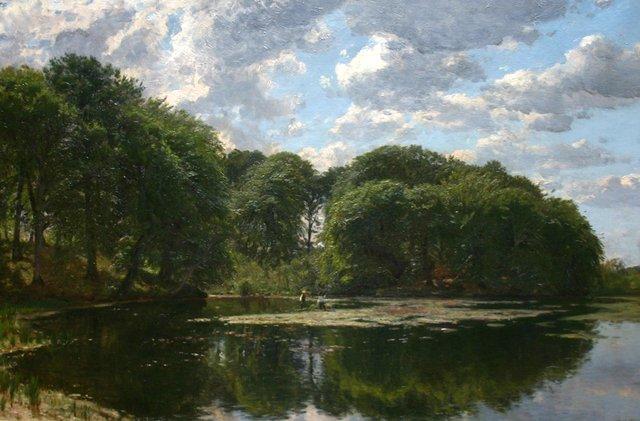 """Godfred Christensen (Danish 1845-1928), """"Old Millcreek at Munkebjerg 1884"""