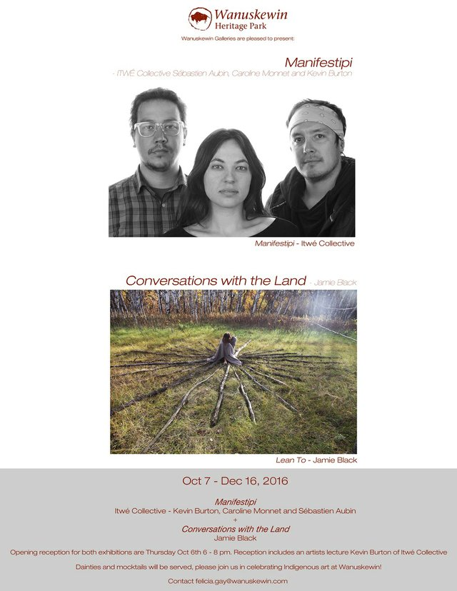 """ITWE Collective, """"Manifestipi,"""" and Jamie Black, """"Lean to,"""" nd"""
