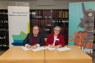 Guy Berthiaume, Librarian and Archivist of Library and Archives Canada, and Donna Livingstone, Glenbow President and CEO