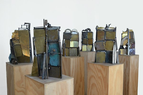 """Douglas Bentham, """"The Tablets,"""" (detail of installation, back view), 2016"""