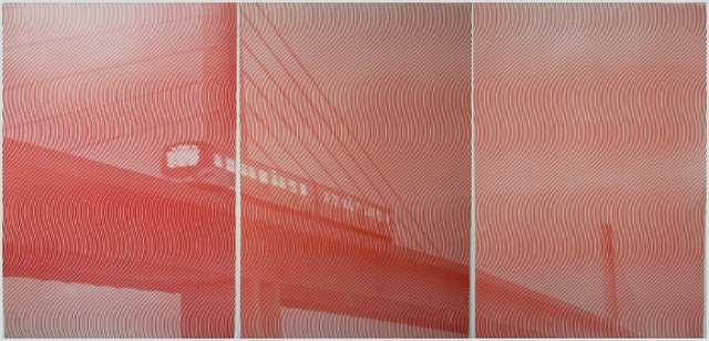 "Beth Howe and Clive McCarthy, ""3500 (Red Triptych),"" 2015"