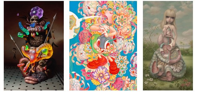 "Christian Rex van Minnen, ""Coat of Arms,"" 2016; James Jean, ""Bouquet,"" 2016; Marc Ryden, ""Anatomia,"" 2014"