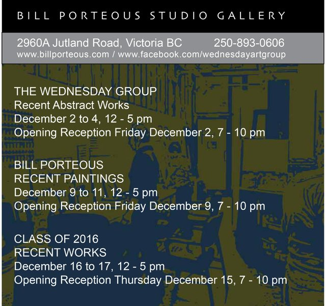 Bill Porteous Studio - 3 shows
