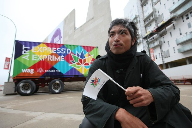Winnipeg art teacher, Nereo II, painted this cargo container for the Winnipeg's Art Gallery's Canada 150 project.