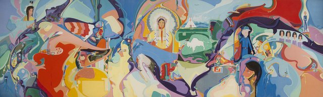 "Alex Janvier, ""Intertribal Indians Unlimited,"" 1990"