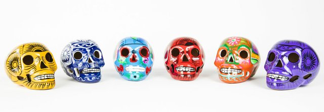 Six skulls Day of the Dead