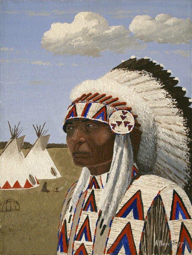 """Allen Sapp, """"Indian Chief Showpiece,"""" nd"""