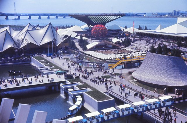 """Laurent Bélanger, """"Pavilions of Canada, Ontario and the Western Provinces at Expo 67,"""" 1967"""