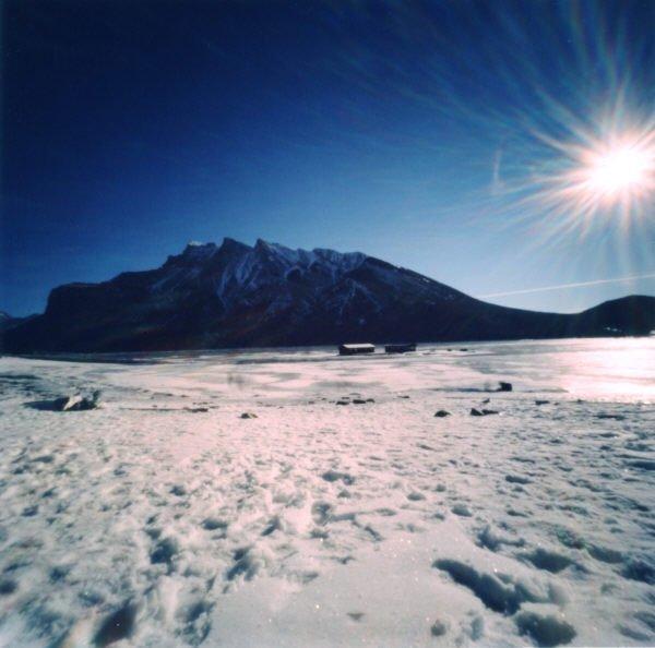 """Dianne Bos, """"Lake Minnewanka, Winter Sun,"""" 2012"""