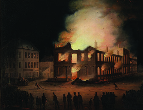 """Joseph Légaré, """"he Burning of Parliament in Montreal,"""" around 1849"""