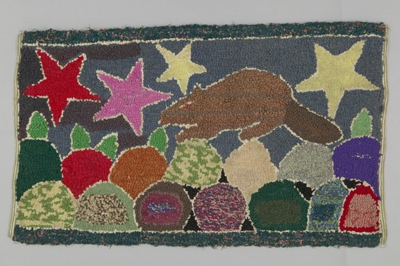 """""""Hooked rug with beaver, Canada,"""" c. 1940"""