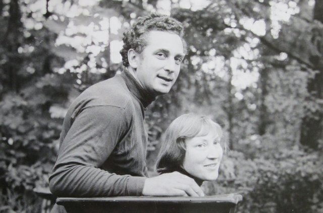 """Jan and Helga Grove in garden at Sooke Rd studio,"" c. 1970"