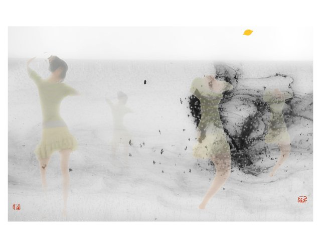 """June Yun and Dr. Paul Crowe, """"Spring Ink,"""" nd"""