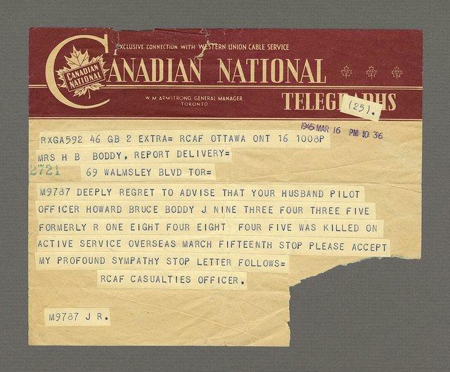 """Leslie Hossack, """"Howard Bruce Boddy, Telegram, 16 March 1945, Ottawa,"""" 2016"""