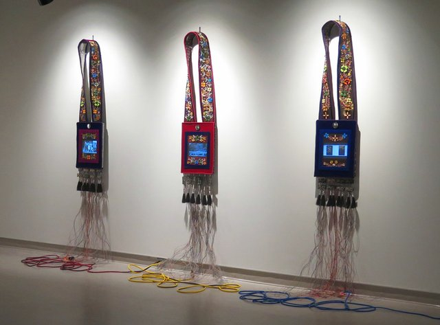 "Barry Ace, ""trinity suite: Bandolier for Niibwa Ndanwendaagan (My Relatives); Bandolier for Manidoo-minising (Manitoulin Island); and Bandolier for Charlie,"" 2015"