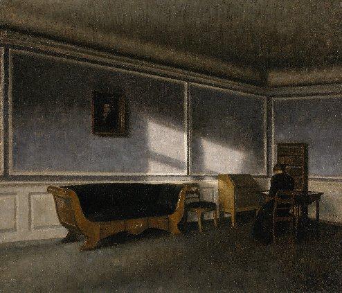 Vilhelm Hammershøi (1864–1916), Sunshine in the Drawing Room (Solskin i dagligstuen), 1910