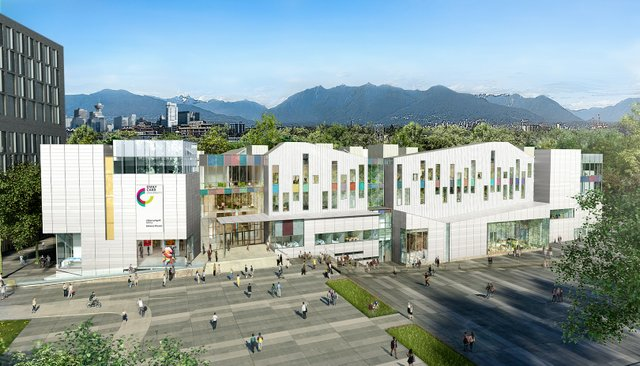 The new logo on a rendering of Emily Carr University