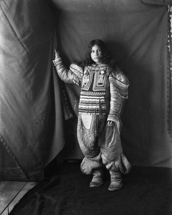 "Geraldine Moody, ""Portrait of Inuit woman, Kootucktuck, in her beaded attigi, Fullerton Harbour, Nunavut,"" February 1905"