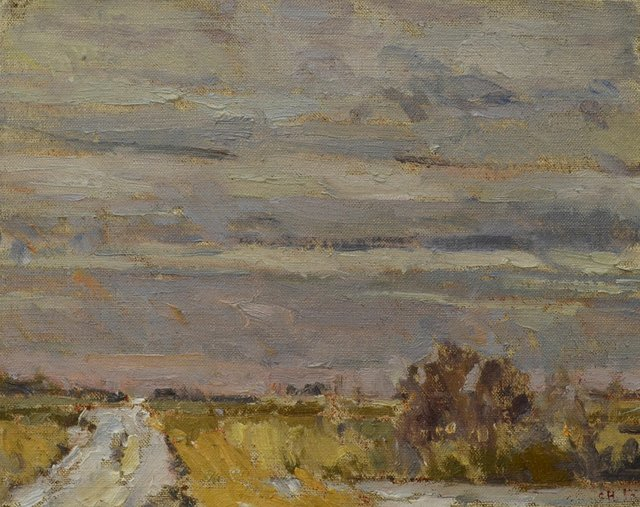 "Clint Hunker, ""Marsh Road; West Towards the Slough,"" 2016"