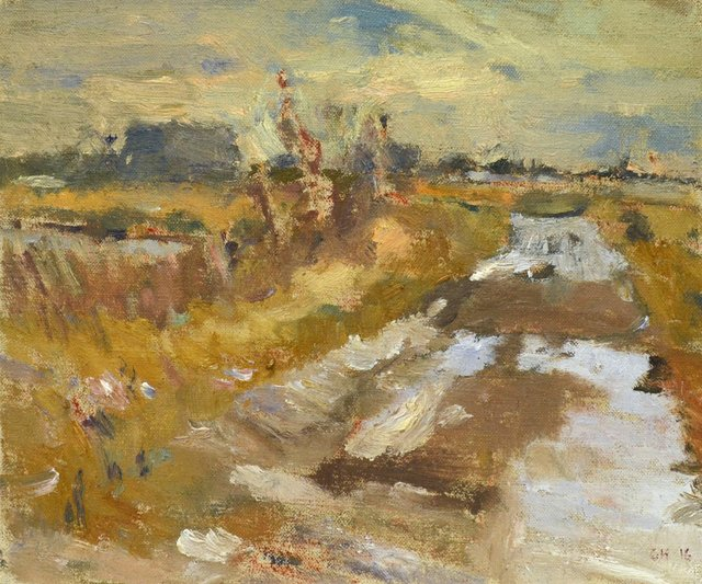 """Clint Hunker, """"Marsh Road; Late Afternoon Winter Light,"""" 2016"""