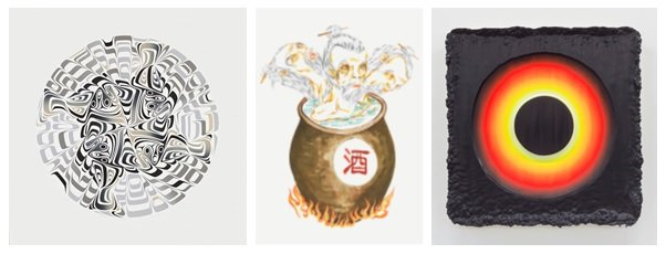 """Image credits: (left to right) Susan Point, """"Halibut (State I of II),"""" 2007; Howie Tsui, """"Retainers of Anarchy (poison purge),"""" 2015; Jeremy Hof, """"Fluorescent Ring on Purple,"""" 2014"""