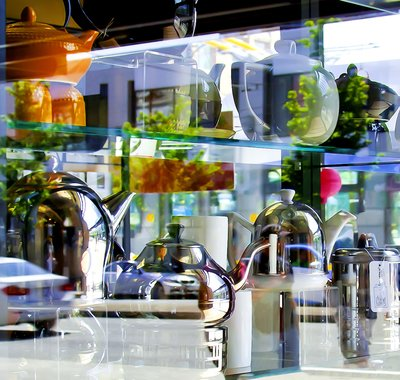 """Laura Pope,""""Chrome Teapots,"""" nd"""