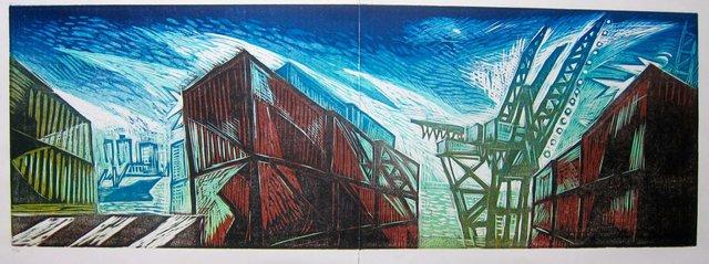 "Richard Tetrault, ""Night Waterfront #2,"" dyptich, 2013"