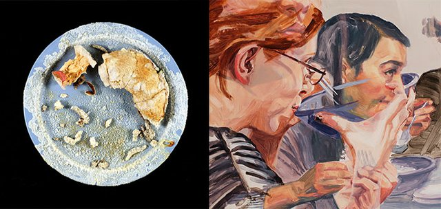L:  Elvira Finnigan, Fragments: 3 plates (detail), 2016, cafeteria plate, leftovers, salt crystals, dimensions variable. Photo: William Eakin.