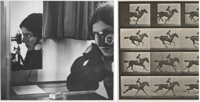 L: Ilse Bing, Self‑portrait in Mirrors, Paris, 1931.Gelatin silver print. National Gallery of Canada. © Estate of Ilse Bing